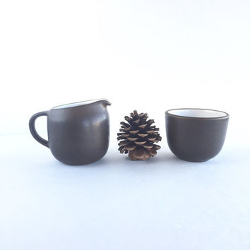 Vintage Heath Ceramics Brown and White Creamer and Open Sugar Bowl