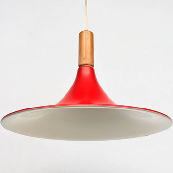 Vintage Trumpet Ceiling Light / Space Age Pendant Lamp / Red