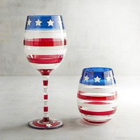 Stars and Stripes Painted Stemware
