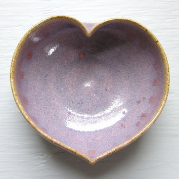 purple ceramic heart bowl  - 3 inches