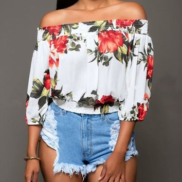 New White Floral Print Draped Plus Size Off Shoulder Backless 3/4 Sleeve Casual Elegant Blouse