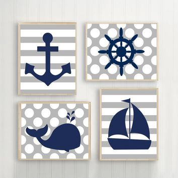 BOY NAUTICAL Wall Art, Baby Boy Nursery Decor, Ocean Bathroom Decor, Whale Anchor Sailboat Wheel Canvas or Prints Set of 4 Stripes Dots