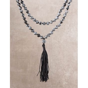 High-Energy Snowflake Obsidian Mala