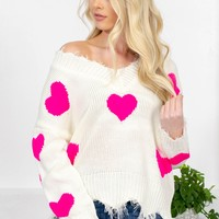 Promise Heart Frayed Sweater | Hot Pink
