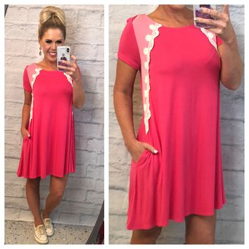 Pocketed with Lace Tunic Dress
