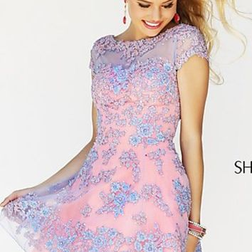 Two Tone Short Lace Party Dress by Sherri Hill