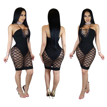 Black Lace-up Halter Sheer Party Dress