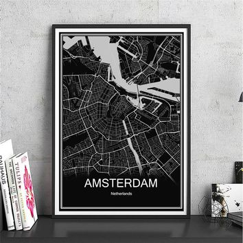 Modern city poster AMSTERDAM abstract World city map canvas coated oil painting art  print picture Living Room Cafe home Decor