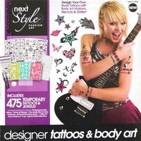 next STYLE FASHION ART Designer Tattoos & Body Art Kit (Includes 475 Temporary Body Tattoos & Jewels, Stencils & Markers)