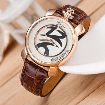 Womens Girls Fashion Casual Distorted Figures Sports Leather Band Strap Watch with Diamond Best Gift watches-431
