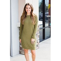 Long Gone Sweater Dress - Green