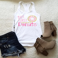 But first donuts graphic tank top for women, in racerback