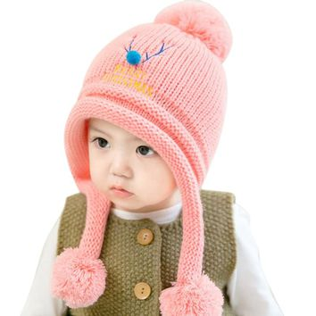 Cute Baby Winter Hats Warm Beanie Cap For Children Boys Girls Animal Kids Crochet Knitted Hat With Ball Ear Flap
