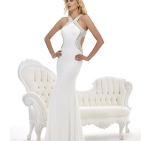 Morrell Maxie 14790 White Floor Length Halter Gown 2015 Prom Dresses