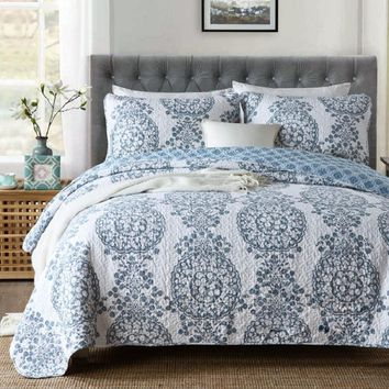 CHAUSUB American 14 Pattern Quilt Set 3pcs Quilts Cotton Quilted Bedspread Blanket King size Bed Cover Coverlet Summer Bedding
