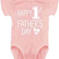 Baby Girl Happy 1st Father's Day Bodysuits