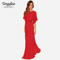 Loose Bust Red Chiffon Elegant Long Party Dress Backless Floor Length Dress Flare Sleeve Dress For Party Evening C732 SM6