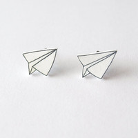 Paper Plane Stud Earrings - Made To Order