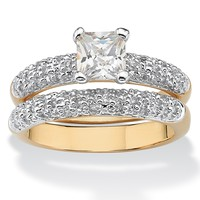 1.65 TCW Princess-Cut Cubic Zirconia 14k Yellow Gold-Plated Bridal Engagement Ring Wedding Band Set