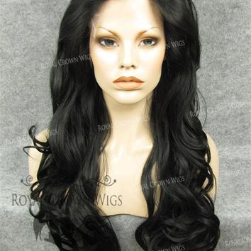 """26"""" Heat Safe Synthetic Lace Front """"Constance"""" with Curly Texture in Dark Brown"""
