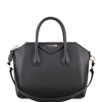 Antigona Small Sugar Goatskin Satchel Bag, Black - Givenchy