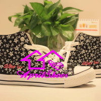 Customizing Shoes High Top Converse, Sk8er Boi Inspired Shoes, Distinctive All Star Sneakers, Amazing Five Stars Design Shoes