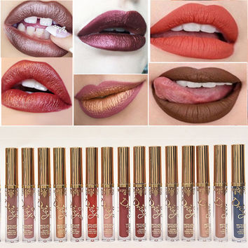 Professional Makeup Colorful Waterproof Shimmer Liquid Lipstick Matte Lipstick Metal Style Golden Nude Red Lips Cosmetic