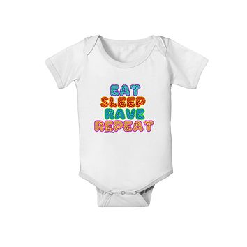 Eat Sleep Rave Repeat Hypnotic Baby Romper Bodysuit by TooLoud