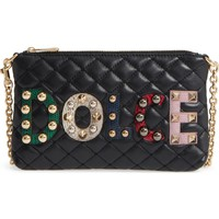 Dolce&Gabbana Studded Logo Patch Leather and Genuine Snakeskin Bag | Nordstrom