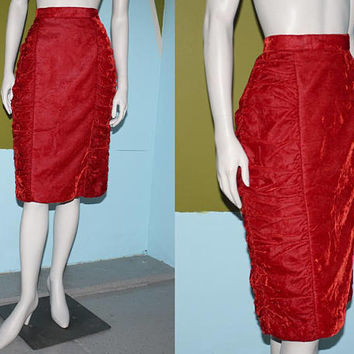 Vintage 80s HIGH WAISTED Skirt, Crushed VELVET Ruby Red Skirt / Ruched Sides / Winter, Holiday Skirt / M L