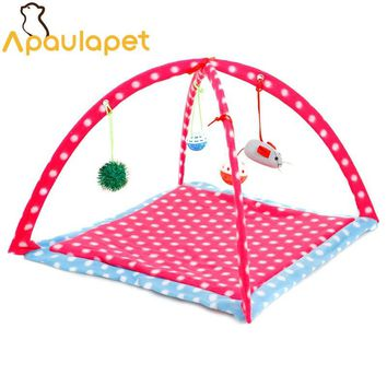 APAULAPET  Fold Pet Cat Bed Toys Activity Playing Bed Cat Bed Pad Blanket House Pet Furniture Cat Tent Toys For Cat