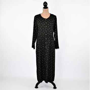 90s Long Sleeve Winter Dress Large Black Floral Grunge Maxi Wool Rayon Button Up Dress Pockets Eddie Bauer Vintage Clothing Womens Clothing