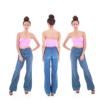 70's Wide Leg High Waist Denim Levis Flares Bell Bottom Authentic Vintage Jeans Hippie Boho Clothing Womens Size Small