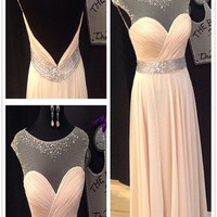 A Line Round Neck Floor Length Prom Dresses, Long Formal/Bridesmaid Dress