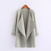 None Button Cuff-Sleeve Knitted Cardigan