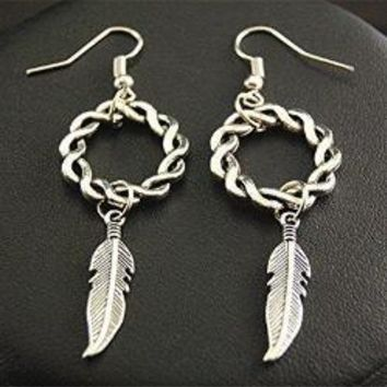 Silver Feather Leaf Celtic Knot Earrings