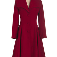 ModCloth 30s Long Long Sleeve Intrigue All About it Coat in Crimson