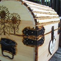 Sunflower - Custom Design - Rustic Wood Treasure Chest or Wedding Card Box with CARD SLOT,  Antique-Inspired LOCK and Hardware