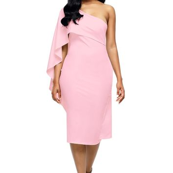 Pink Batwing Sleeve One Shoulder Sheath Dress