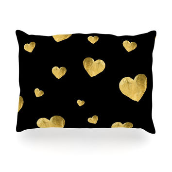"Robin Dickinson ""Floating Hearts"" Gold Black Oblong Pillow"