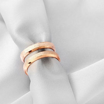 2 Rings-Free Engraving rose gold ring, Wedding Bands Couple Rings, Lovers rings, his and hers promise ring sets, wedding rings