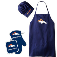 Denver Broncos NFL Barbeque Apron, Chef's Hat and Pot Holder Deluxe Set