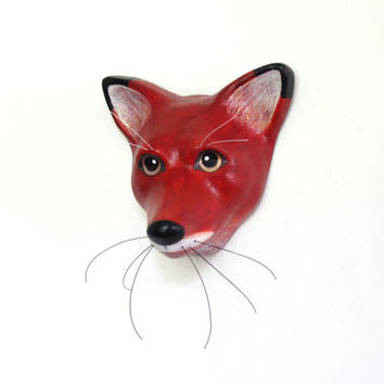 Red paper mache painted fox - Macheanimal apartment wall decor