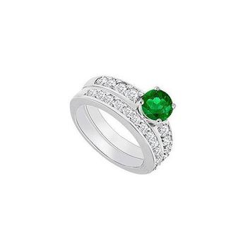14K White Gold : Emerald and Diamond Engagement Ring with Wedding Band Set 1.50 CT TGW