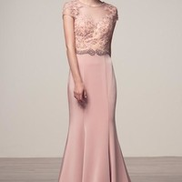 Cap Sleeve Scoop Neck Trumpet Evening Gown