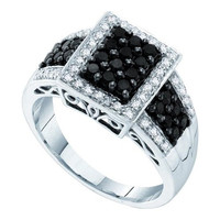 Black Diamond Fashion Ring in 14k White Gold 0.63 ctw