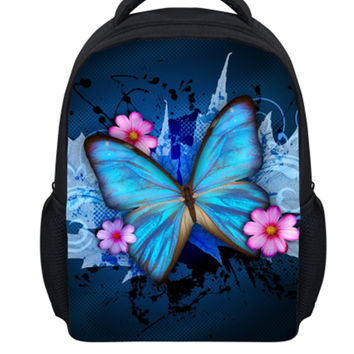 ELVISWORDS Girls School Bags Beautiful Butterfly Painting Bookbag for Young Children Fashion Backpack Kindergarten Holiday Gift