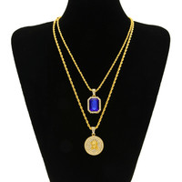 14K Gold Plated Iced Out Ruby and Angel Necklace Set