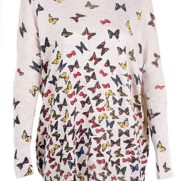 Butterfly print top jumper knitwear oversized top shirt womens ladies cardigan