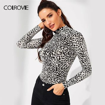 COLROVIE High Neck Zebra Print Fitting Casual T-Shirt Women Clothing 2018 Winter Long Sleeve Shirt Office Ladies Tops & Tees